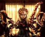1girl abigail_williams_(fate/grand_order) absurdres artist_name bangs black_bow black_dress blonde_hair blue_eyes bottle bow commentary_request curtains dress fangs fate/grand_order fate_(series) forehead hair_bow hand_up highres horror_(theme) indoors keyhole long_hair long_sleeves looking_at_viewer multiple_bows multiple_hair_bows open_mouth orange_bow parted_bangs sharp_teeth smile solo t0da teeth tentacles