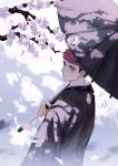 1boy black_hair black_kimono brown_eyes cherry_blossoms facial_mark from_behind highres holding holding_umbrella itadori_yuuji japanese_clothes jujutsu_kaisen kimono light_smile looking_at_viewer male_focus mo_si_(z1216150815) petals pink_hair short_hair solo spiky_hair textless umbrella undercut upper_body