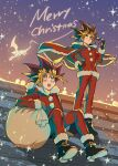 2boys bangs black_gloves black_hair blonde_hair blush brown_gloves commentary_request fushitasu gloves holding holding_eyewear looking_up male_focus merry_christmas multicolored_hair multiple_boys mutou_yuugi open_mouth outdoors pants red_pants sack santa_costume sitting smile spiky_hair standing star_(symbol) sunglasses teeth watermark yami_yuugi yu-gi-oh! yu-gi-oh!_duel_monsters