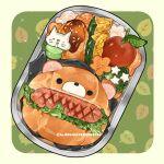 animal artist_name bear bread bread_bun cat flower food food_focus le_delicatessen leaf lettuce meat no_humans obentou original sausage simple_background star_(symbol) still_life tomato vegetable