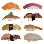 egg fish food food_focus garnish nigirizushi no_humans octopus omelet original rice salmon seaweed shrimp simple_background spring_onion still_life studiolg sushi tamagoyaki white_background