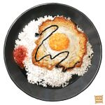 artist_name bowl chili egg english_text food food_focus fried_egg highres nanashi_(freshman) no_humans original rice simple_background still_life white_background