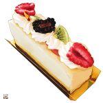 cake cheesecake cream dessert food food_focus fruit kiwi_slice kiwifruit no_humans original pastry raspberry simple_background still_life strawberry studiolg white_background