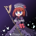 1girl :d blue_eyes bug butterfly capelet dress elbow_gloves eva_beatrice eyebrows_visible_through_hair fang flower gloves hat hat_flower holding holding_staff insect iwako_(pixiv1786128) lowres open_mouth orange_hair purple_capelet purple_dress red_flower red_ribbon red_rose ribbon rose short_hair smile solo staff umineko_no_naku_koro_ni