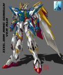 artist_logo character_name clenched_hands green_eyes grey_background gundam gundam_wing highres mecha mechanical_wings no_humans pravin_rao_santheran science_fiction shadow solo standing v-fin wing_gundam wings