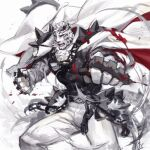 1boy animal_ears arknights black_tank_top blood blood_splatter brass_knuckles bulge chain_necklace covered_abs dog_tags fighting_stance foreshortening furry male_focus mountain_(arknights) muscular muscular_male pants pectorals scar scar_across_eye short_hair solo tank_top thighs tiger_boy tiger_ears tiger_stripes weapon white_fur white_pants wind yukiusagi1983