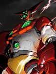 absurdres amakawa_mayu electricity from_below getter-1 getter_robo highres horns huge_filesize looking_ahead mecha no_humans open_hand science_fiction solo super_robot yellow_eyes