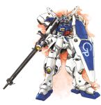 akitaka_mika beam_rifle beam_saber concept_art energy_gun gun gundam gundam_0083 gundam_gp-04_gerbera holding holding_gun holding_weapon mecha mobile_suit no_humans retro_artstyle rifle shield signature traditional_media watercolor_(medium) weapon