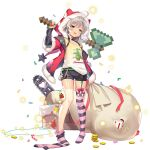 1girl :3 ahoge axe bangs black_shorts blue_oath chainsaw chimney christmas confetti full_body fur-trimmed_jacket fur_trim garter_straps highres hoel_(blue_oath) holding holding_axe holding_weapon hood hood_up jacket long_hair official_art over_shoulder sack shirt shorts silver_hair solo standing star_(symbol) striped striped_legwear t-shirt tan tanline thigh-highs thighhighs_pull tongue torn_sack transparent_background weapon weapon_over_shoulder yellow_eyes