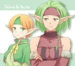 2girls arm_tattoo bare_shoulders braid breasts character_name collarbone commentary_request covered_collarbone crossed_arms detached_sleeves elf gensou_suikoden gensou_suikoden_iv green_capelet green_eyes green_hair green_headband green_shirt ham_pon headband light_smile medium_breasts multiple_girls notched_ear orange_hair paula_(suikoden) pointy_ears purple_headband purple_shirt purple_sleeves red_eyes selma shirt short_hair side_braid tattoo