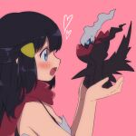 1girl bangs bare_arms black_hair blue_eyes blush commentary_request darkrai dawn_(pokemon) eyelashes gen_4_pokemon hair_ornament hairclip hands_up heart holding holding_pokemon mokorei mythical_pokemon open_mouth pink_background pokemon pokemon_(creature) pokemon_(game) pokemon_dppt red_scarf scarf simple_background tongue