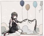 1girl adjusting_hair alternate_costume alternate_hair_ornament balloon bangs black_dress black_hair blunt_bangs blush border breasts brown_hair closed_mouth commentary_request danganronpa_(series) danganronpa_v3:_killing_harmony dress earrings floating_hair goto_(sep) hair_ornament hands_up harukawa_maki high_heels jewelry long_hair looking_at_viewer medium_breasts pout red_eyes red_footwear ribbon shiny shiny_hair shoes short_sleeves sitting solo thigh-highs very_long_hair wariza white_border white_legwear zettai_ryouiki