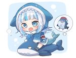 1girl :o animal_hood aruya_(flosrota) bangs bloop_(gawr_gura) blue_background blue_eyes blue_hair blue_hoodie blue_legwear blue_nails blush chibi eyebrows_visible_through_hair fish_tail gawr_gura hololive hololive_english hood hood_up hoodie long_hair long_sleeves looking_at_viewer multicolored_hair nail_polish open_mouth shark_hood shark_tail shoes silver_hair sleeves_past_wrists socks streaked_hair stuffed_animal stuffed_shark stuffed_toy tail twitter_username two-tone_background virtual_youtuber white_background white_footwear wide_sleeves