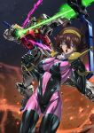 1girl absurdres blue_eyes breasts brown_hair clenched_hand covered_navel energy_arrow g_gundam gundam hairband highres huge_filesize looking_at_viewer mecha medium_breasts mobile_trace_suit open_mouth paintedmike rain_mikamura rising_gundam short_hair skin_tight v-fin yellow_hairband