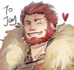 1boy armor beard breastplate cape cleavage_cutout clothing_cutout face facial_hair fate/grand_order fate/zero fate_(series) fur-trimmed_cape fur_trim ina_zuma iskandar_(fate) leather looking_at_viewer male_focus portrait red_eyes redhead simple_background sketch solo white_background
