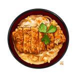 bird bowl chicken donburi egg food food_focus fried_chicken garnish leaf meat no_humans onion original simple_background still_life studiolg vegetable white_background