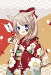 1girl :d animal_ear_fluff animal_ears arrow_(projectile) bell blue_eyes blush bow brown_hair ema facepaint floral_print hair_bow hamaya highres holding holding_arrow japanese_clothes jingle_bell kimono kinatsu_ship long_sleeves looking_at_viewer obi open_mouth original ponytail print_kimono red_bow red_kimono sash sleeves_past_wrists smile solo wide_sleeves