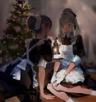 2girls alternate_costume blurry blurry_background blush brown_eyes brown_hair cake candle christmas closed_mouth dress earrings enmaided food fruit gloves heart heart_earrings highres holding holding_plate jewelry long_hair maid maid_headdress multiple_girls open_mouth original pinafore_dress plate purple_hair red_neckwear sketch sleeves_rolled_up smile socks soungruan_mian_mao strawberry violet_eyes white_legwear white_sleeves