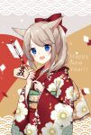 1girl :d animal_ear_fluff animal_ears arrow_(projectile) bell blue_eyes blush bow brown_hair commentary_request ema floral_print hair_bow hamaya happy_new_year highres holding holding_arrow japanese_clothes jingle_bell kimono kinatsu_ship long_sleeves looking_at_viewer new_year obi open_mouth original ponytail print_kimono red_bow red_kimono sash sleeves_past_wrists smile solo wide_sleeves