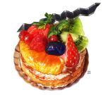 berry blueberry food food_focus fruit kiwi_slice kiwifruit leaf momiji_mao orange original pastry raspberry simple_background sparkle still_life strawberry tart_(food) white_background
