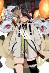 1girl aroha_(aroha390) ass_visible_through_thighs black_legwear bottle brown_hair closed_mouth fire flame fox_mask fox_tail grey_jacket hands_in_pockets highres hood hood_down horns jacket katana kitsune lantern looking_at_another mask mask_on_head multiple_tails one-eyed open_clothes open_jacket original paper_lantern patterned patterned_clothing red_eyes scabbard sheath sheathed shide short_hair single_horn single_thighhigh skindentation smile spirit sword tail thigh-highs thigh_strap torii water_bottle weapon weapon_on_back zipper zipper_pull_tab