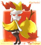 1girl animal_ear_fluff animal_ears aoneco arrow_(symbol) artist_name black_fur body_fur border braixen character_name closed_mouth commentary_request copyright_name dated english_text fox_ears fox_girl fox_tail from_behind full_body gen_6_pokemon hand_up happy outside_border pokemon pokemon_(creature) red_background red_eyes romaji_text signature simple_background smile solo standing stick tail thigh-highs translation_request white_border white_fur yellow_fur zettai_ryouiki