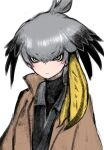 1girl bangs black_sweater closed_mouth eyebrows_visible_through_hair feathers grey_hair hair_between_eyes hair_feathers hair_ornament ise_(0425) jacket kemono_friends long_sleeves medium_hair shirt shoebill_(kemono_friends) solo sweater white_background wings yellow_eyes