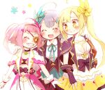 3girls ^_^ anmitsu_(magenta) blonde_hair blue_flower bow buttons closed_eyes closed_mouth collared_shirt eyebrows_visible_through_hair eyepatch flower gloves grey_hair hair_flower hair_ornament happy headband magia_record:_mahou_shoujo_madoka_magica_gaiden magical_girl mahou_shoujo_madoka_magica mikuri_ayame multiple_girls neck_ribbon open_mouth pink_bow pink_hair ribbon shirt shizumi_konoha smile soul_gem twintails white_gloves white_shirt yellow_eyes yellow_flower yusa_hazuki