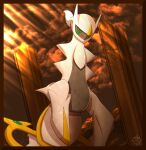 absurdres arceus closed_mouth clouds commentary_request from_below gen_4_pokemon highres light_beam mizunogoke mythical_pokemon no_humans pillar pokemon pokemon_(creature) red_eyes repost_notice sky watermark