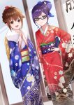 2girls :d absurdres alternate_hairstyle aqua_eyes bangs blue_kimono blurry blush bow brown_eyes brown_hair closed_mouth commentary_request depth_of_field eyebrows_visible_through_hair floral_print flower fur_collar fur_trim furisode glasses hair_bow hair_bun hair_flower hair_ornament hair_up hand_on_hip highres hololive japanese_clothes kimono long_hair long_sleeves looking_at_viewer multiple_girls obi open_mouth own_hands_together print_kimono purple_hair raira_(kinounozikan) red_kimono sash sidelocks smile standing steepled_fingers tokino_sora virtual_youtuber wide_sleeves yuujin_a_(hololive)