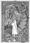 1girl absurdres cape closed_eyes crown dragon flower framed greyscale hatching_(texture) high_heels highres holding holding_staff ink_(medium) long_hair long_sleeves monochrome mountain mu1357 open_mouth original pillar princess scales staff standing teeth traditional_media wide_sleeves