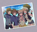 2boys 2girls :d baseball_cap black_(pokemon) black_pants blake_(pokemon) brown_hair clenched_hand clouds commentary_request grey_shirt hat highres hilbert_(pokemon) hilda_(pokemon) jacket looking_at_viewer mokorei multiple_boys multiple_girls open_mouth pants photo_(object) pokemon pokemon_adventures raglan_sleeves red_headwear shirt short_hair short_shorts short_sleeves shorts sky smile tongue two-tone_headwear vest visor_cap waving white_(pokemon) whitley_(pokemon) wristband yellow_shorts zipper_pull_tab
