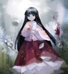 1girl abstract_background bamboo_print bangs black_eyes black_hair blunt_bangs bow bowl branch cape circle closed_mouth collared_shirt commentary cowry_shell floating floating_object floral_print frilled_skirt frills fur-trimmed_cape fur_trim gem hands_up highres hime_cut houraisan_kaguya jeweled_branch_of_hourai kaguya_hime kaigen_1025 long_hair long_skirt long_sleeves pink_shirt pointing pointing_at_viewer red_cape red_skirt seashell shaded_face shell shirt sidelocks skirt sleeves_past_fingers sleeves_past_wrists smile solo steam straight_hair touhou very_long_hair white_bow white_neckwear wide_sleeves