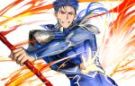 1boy 9sui abs armor beads blue_hair bodysuit closed_mouth cu_chulainn_(fate)_(all) earrings fang fate/stay_night fate_(series) gae_bolg hair_beads hair_ornament holding holding_polearm holding_weapon jewelry lancer long_hair male_focus muscular pauldrons polearm ponytail red_eyes shoulder_armor simple_background skin_tight solo spiky_hair type-moon weapon white_background