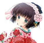 1girl bangs black_hair blush bob_cut bow commentary_request eyebrows_visible_through_hair floral_print flower from_behind green_eyes hair_bow hand_up ikoku_meiro_no_croisee japanese_clothes kimono long_sleeves looking_at_viewer looking_back parted_lips pink_bow pink_flower pink_kimono print_kimono shigunyan short_hair simple_background sleeves_past_fingers sleeves_past_wrists solo twitter_username upper_body white_background yune_(ikoku_meiro_no_croisee)