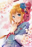 1girl blonde_hair blue_eyes blush cherry_blossoms commentary_request conconcon1031 finger_to_mouth flower hair_flower hair_ornament japanese_clothes kimono long_hair looking_at_viewer pecorine_(princess_connect!) petals princess_connect! princess_connect!_re:dive smile solo