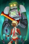 1other ancient_minister commission crossover dark_skin english_commentary family_computer_robot gloves glowing glowing_eyes guilhermerm headphones highres mechanical_parts necktie nintendo parody persona persona_4 personification power_glove red_eyes robot solo super_smash_bros. sword tarot the_hierophant_(tarot) weapon