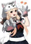 1girl animal_hood bangs black_skirt blonde_hair blush chagen_kokimu dog_hood dog_tail eyebrows_visible_through_hair fang gloves hair_flaps hair_ribbon highres hood kantai_collection long_hair neckerchief open_mouth paw_gloves paws pleated_skirt pumpkin red_eyes red_neckwear remodel_(kantai_collection) ribbon sailor_collar school_uniform serafuku short_sleeves simple_background skirt solo tail white_background yuudachi_(kantai_collection)