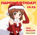 1girl absurdres alternate_costume bangs belt black_belt brown_eyes brown_hair cape capelet character_name christmas commentary copyright_name dated elbow_gloves english_text eyebrows_visible_through_hair flying_sweatdrops fur-trimmed_cape fur_trim girls_und_panzer gloves hand_on_own_head happy_birthday hat highres kurumiyasan_ns looking_at_viewer midriff_peek navel nishizumi_miho open_mouth orange_background red_capelet red_gloves red_headwear red_shorts sack santa_costume santa_hat short_hair shorts smile solo strapless tubetop