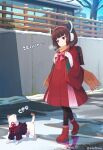 1girl :o ahoge animal_ears backpack bag bangs black_legwear blush bob_cut boots bow bowtie brown_hair building cat cat_ears cat_tail dot_nose dress earmuffs eyebrows_visible_through_hair fake_animal_ears fence hibi_tsuna highres long_sleeves looking_at_another open_mouth orange_scarf pink_neckwear red_dress red_eyes red_footwear scarf shadow short_hair signature snow tail touhoku_kiritan translated tree two-tone_dress voiceroid walking wide_sleeves winter_clothes