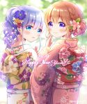 2021 2girls alternate_costume alternate_hairstyle bangs blue_eyes blue_hair blush eyebrows_visible_through_hair eyes_visible_through_hair floral_print flower from_behind gochuumon_wa_usagi_desu_ka? hair_between_eyes hair_bun hair_flower hair_ornament happy_new_year highres hoto_cocoa japanese_clothes kafuu_chino kimono long_sleeves looking_at_viewer looking_back mozukun43 multiple_girls new_year orange_hair parted_lips print_kimono smile violet_eyes