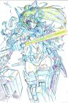 1girl colored_pencil_(medium) commentary_request energy_sword gloves headgear high_ponytail highres holding holding_sword holding_weapon kumichou_(ef65-1118-ef81-95) long_hair looking_at_viewer mecha_musume mechanical_legs monochrome original shattered sheath sketch solo sword thighs torn_clothes traditional_media vambraces weapon white_background