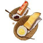 absurdres basket bread butter food food_focus highres jam napkin no_humans original saucer simple_background spoon still_life studiolg toast white_background