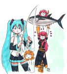 >_< 4girls ^^^ aqua_eyes aqua_hair aqua_neckwear aragai0157 armband arms_up bare_shoulders black_shirt black_skirt black_sleeves blonde_hair blush_stickers boots bow carrying_overhead commentary detached_sleeves fish fishing fishing_hook fishing_rod gold_trim hair_bow hair_ornament hairclip hatsune_miku holding holding_fishing_rod kagamine_rin knee_boots long_hair long_skirt megurine_luka miniskirt multiple_girls necktie octopus pink_hair pleated_skirt shirt side_slit single_arm_warmer skirt sleeveless sleeveless_shirt smile sweat takoluka thigh-highs traditional_media triangle_mouth tuna twintails very_long_hair vocaloid white_bow white_shirt