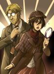 1boy 1girl beard black_hair blonde_hair covered_eyes deerstalker detective facial_hair formal glasses glint hat highres holding holding_magnifying_glass kokomi_(aniesuakkaman) long_sleeves magnifying_glass mikasa_ackerman necktie nervous open_mouth red_scarf scar scar_on_cheek scar_on_face scarf shingeki_no_kyojin short_hair suit trench_coat zeke_yeager