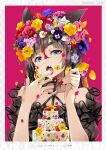 1girl artist_name bangs bare_shoulders black_choker black_hair blue_eyes border breasts cake choker collarbone crying eating eyebrows eyebrows_visible_through_hair fangs fingernails food fork hair_between_eyes hands_up highres holding holding_fork long_fingernails long_hair long_sleeves looking_at_viewer multicolored_hair nail_polish natsume_eri non-web_source open_mouth original petals red_nails redhead short_eyebrows solo streaked_hair tears thick_eyebrows two-tone_hair upper_body very_long_hair white_border