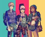 1other 2girls androgynous artist_name ashleyloob backpack bag bangs baseball_cap beanie black_hair blue_eyes blunt_bangs brown_eyes bubble_tea clothes_around_waist denim dolphin_shorts flannel glasses guitar_case hat headphones headphones_around_neck instagram_username instrument_case jacket jacket_around_waist md5_mismatch multiple_girls notebook one_eye_closed open_clothes open_jacket original patreon_username pen_in_pocket plaid plaid_shirt ponytail redhead resolution_mismatch shirt shorts shoulder_bag soda source_larger sticker tan torn_clothes torn_legwear twitter_username
