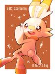 alternate_color brown_eyes character_name commentary_request fang gen_8_pokemon hashtag height highres no_humans number okoge_(simokaji) open_mouth pokemon pokemon_(creature) scorbunny shiny_pokemon smile starter_pokemon tongue weight