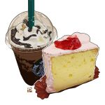 cake cake_slice chocolate coffee coffee_cup cream cup dessert disposable_cup drink drinking_straw food food_focus iced_coffee no_humans original pastry simple_background starbucks starbucks_siren still_life studiolg white_background