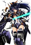 1girl absurdres black_gloves black_hair commentary_request energy_sword gloves headgear high_ponytail highres holding holding_sword holding_weapon kumichou_(ef65-1118-ef81-95) long_hair looking_at_viewer mecha_musume mechanical_legs original shattered sheath solo sword thighs torn_clothes vambraces violet_eyes weapon white_background